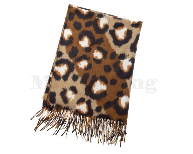 Shawl wol viscose panterprint camel bruin ecru