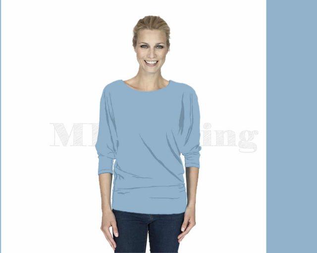 Slippely shirt driekwart mouw viscose 17063 Baby Blue (licht blauw)