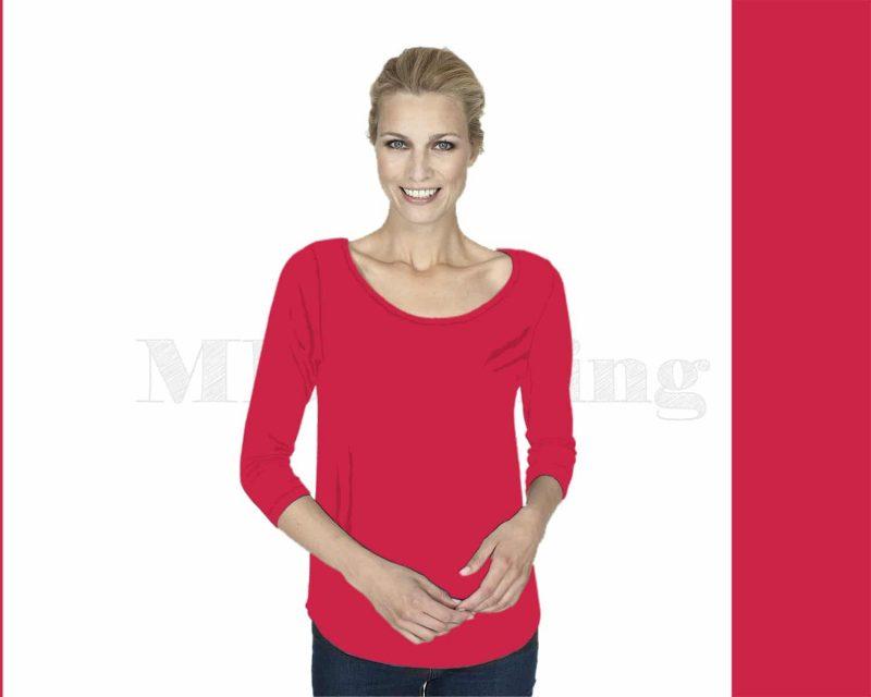 Slippely shirt driekwart mouw viscose 17067 Hibiscus (rood)