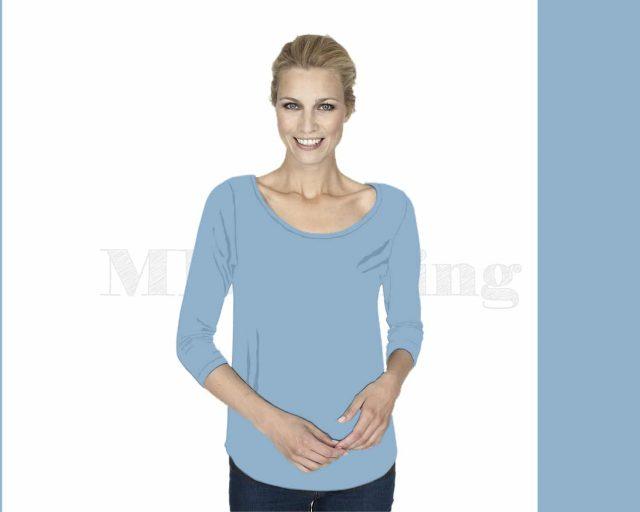 Slippely shirt driekwart mouw crêpe viscose 17067 Baby Blue (blauw)