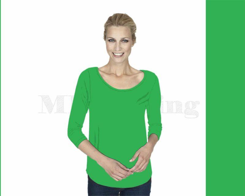 Slippely shirt driekwart mouw crêpe viscose 17067 Grass (groen)