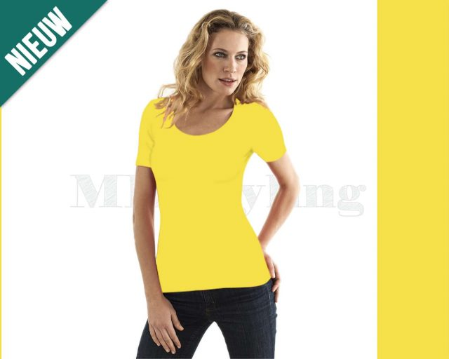 Slippely shirt korte mouw viscose 17732 Yellow (geel)