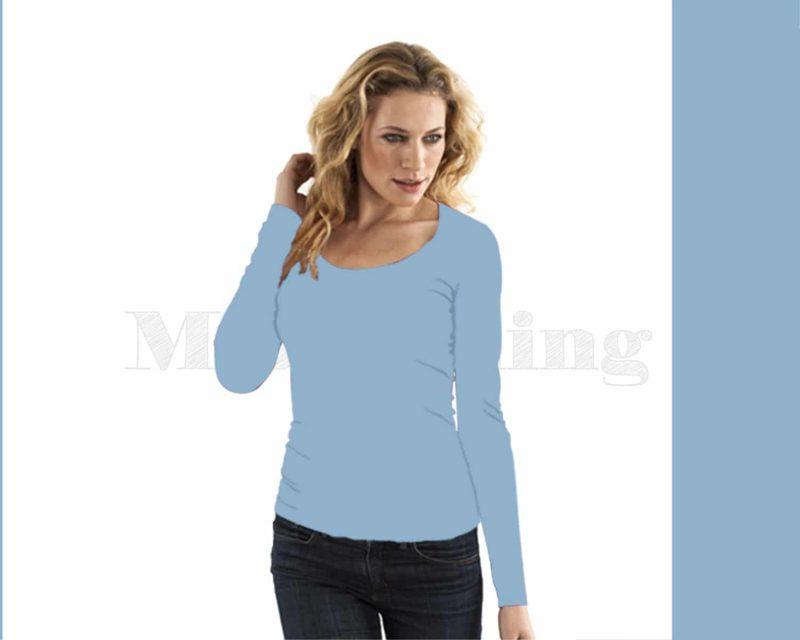 slippely-shirt-lange mouw viscose 17730-Baby blue