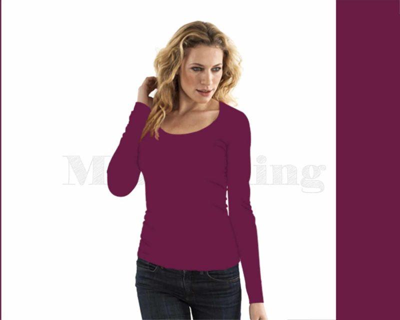 Slippely shirt lange mouw viscose 17730 Violet