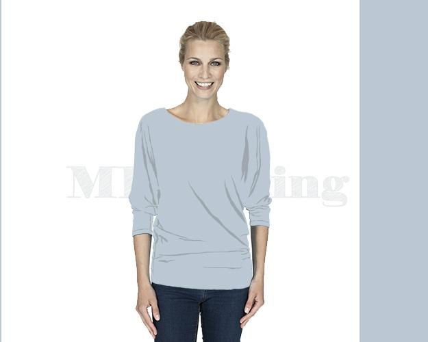 slippely-shirt-driekwart mouw-viscose-17063-silver