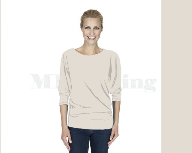 slippely-shirt-driekwart mouw-viscose-17063-Moonlight