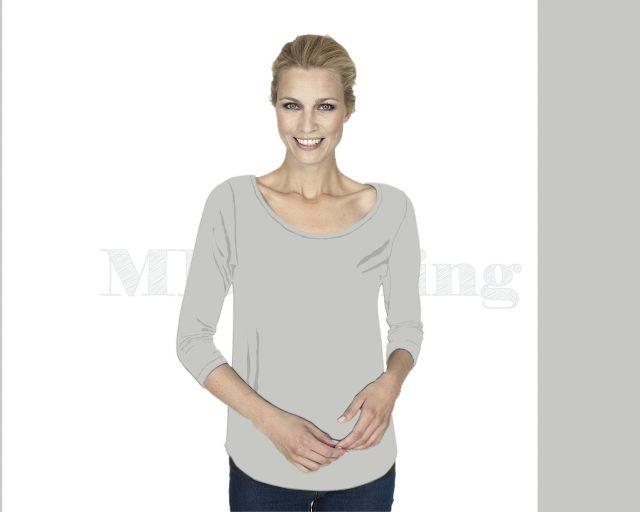 slippely-shirt-driekwart mouw-viscose-17067-Silver