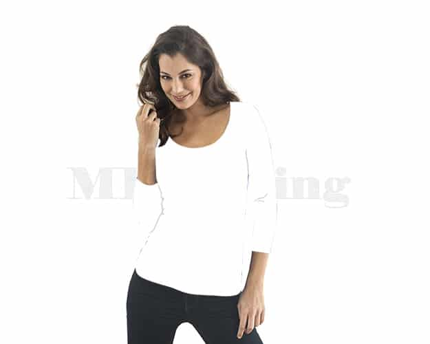 slippely-shirt-driekwart mouw-viscose-2667-13-white