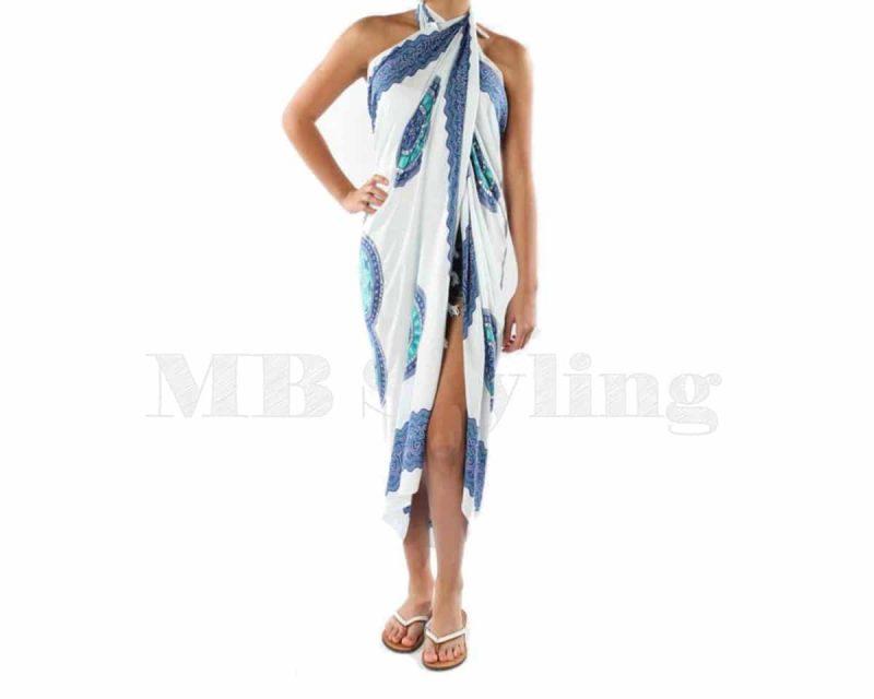 Pure Kenya sarong white-turquoise-blue